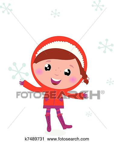 clipart of first snow cute winter child holding snowflake k7489731