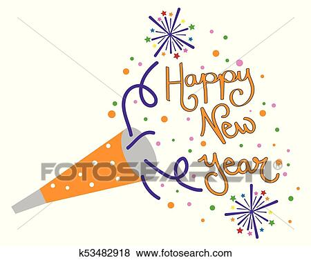 clip art happy new year party blower fotosearch search clipart illustration posters