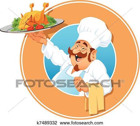 Clipart les gai cuisinier a poulet r ti k7489332 recherchez des clip arts des - Dessin de poulet roti ...