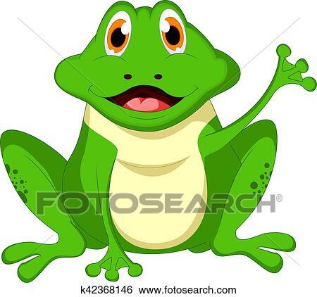 Mignon dessin anim grenouille verte onduler main banque d 39 illustrations k42368146 - Dessin de grenouille verte ...