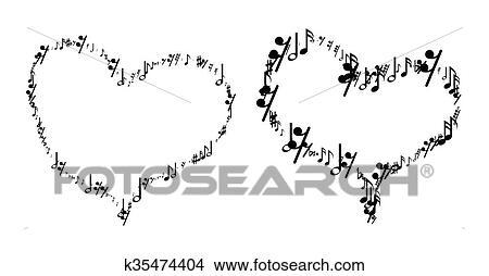 Dibujos Notas Musicales En El Forma De Corazón K35474404