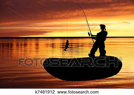 Pescador Com Pegando Pike Desenho K7481912 Fotosearch