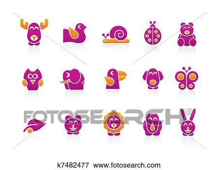 Clip Art - stilisiert, tiere 2, farben k7482477 - Suche Clipart ...