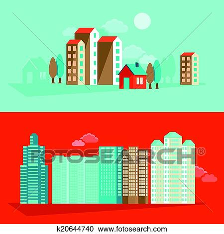Clipart Of Vector City Illustration In Flat Simple Style K20644740