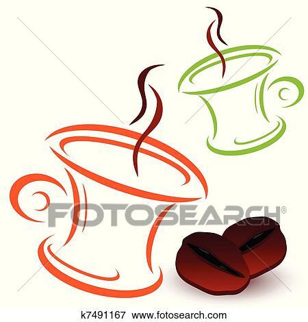 コーヒービーン そして カップ ベクトル イラスト クリップアート