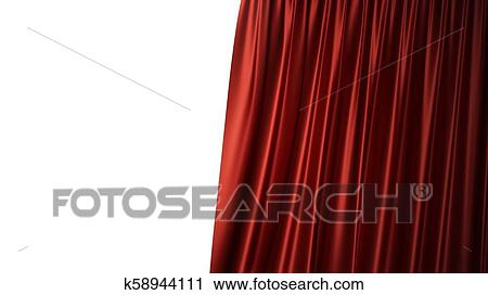 3d Illustration Luxury Red Silk Velvet Curtains Decoration