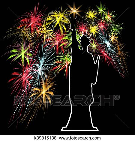 american independence day the statue of liberty on the background of fireworks us symbols vector illustration