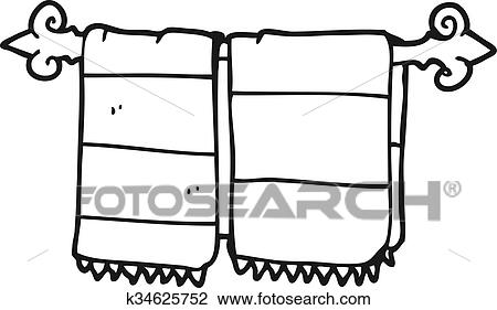 Clipart Of Black And White Cartoon Bathroom Towels K34625752