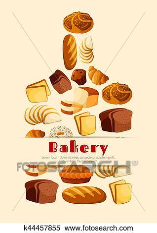 Clipart Boulangerie Pain Planche Découper Vecteur Affiche