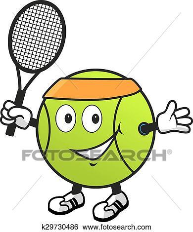 Clip Art Of Cartoon Tennis Ball With Racket K29730486 Search