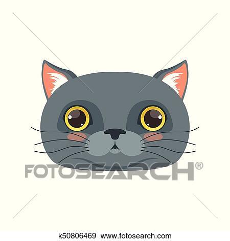 Clip Art Of Cute British Cat Head Funny Cartoon Animal Character