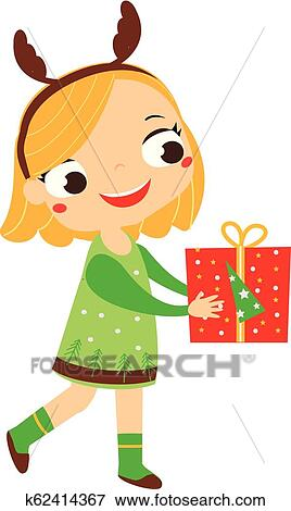 Christmas Clip Art Cute.Cute Girl Holding Gift Box Christmas Kids Series Happy New Year Children Clip Art