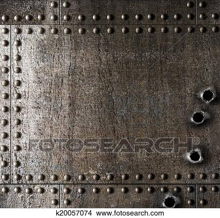 Damaged Metal Background With Bullet Holes Picture