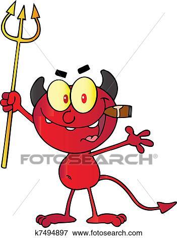 clip art of devil holding up a pitchfork k7494897 search clipart rh fotosearch com devil clip art free download devil clip art free download