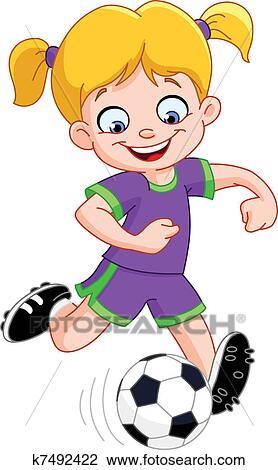Fussball Madchen Clipart K7492422 Fotosearch