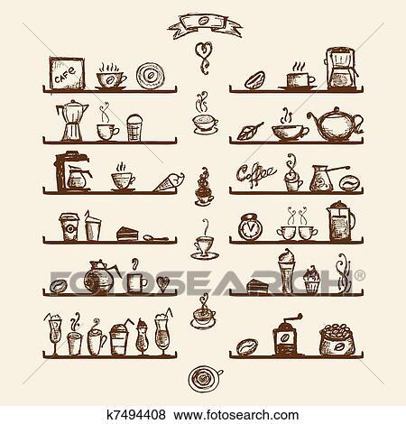 Clip Art - utensili cucina, su, mensole, per, casa caffè, schizzo ...