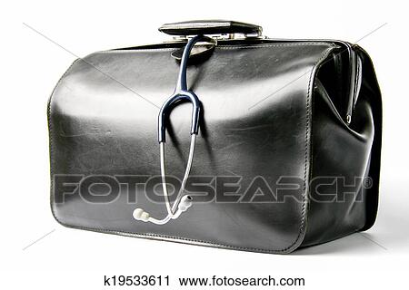 Black Leather Doctor S Bag With Stethoscope Hanging Out