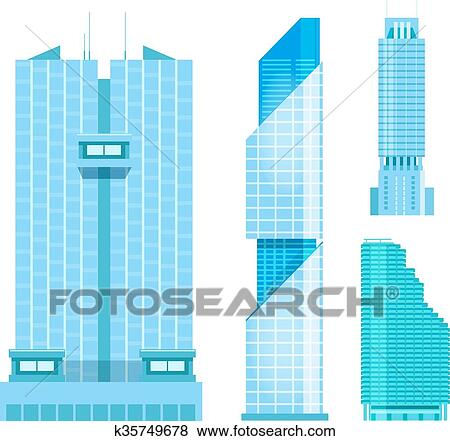 Clip Art Of Modern Skyscrapers Icons Set Flat Design Of The City