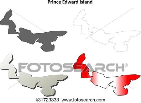 Prince Edward Island blank outline map set Clipart ...