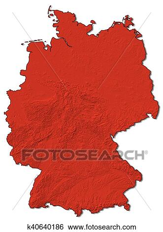 Map Of Germany 3d.Stock Illustration Of Relief Map Germany 3d Rendering K40640186