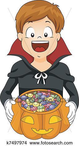 Children trick or treating in Halloween costume Vector Image