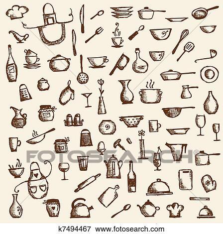 Clip Art - utensili cucina, schizzo, disegno, per, tuo, disegno ...