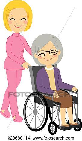 シニア 患者 女 車椅子 クリップアート切り張りイラスト絵画
