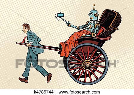 人々 人力車 乗車 ロボット クリップアート切り張りイラスト