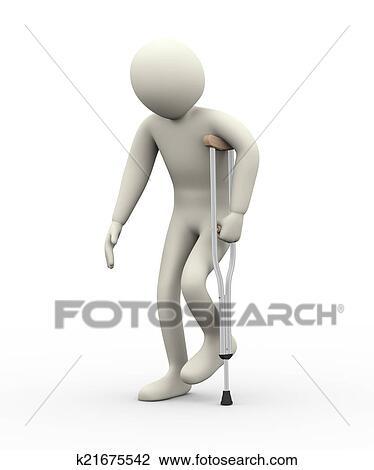 Clip Art - 3d, hombre caminar, con, muleta k21675542 - Buscar Clip ...
