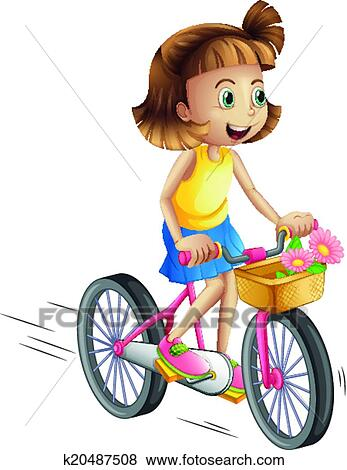 clip art of a happy girl riding a bike k20487508 search clipart