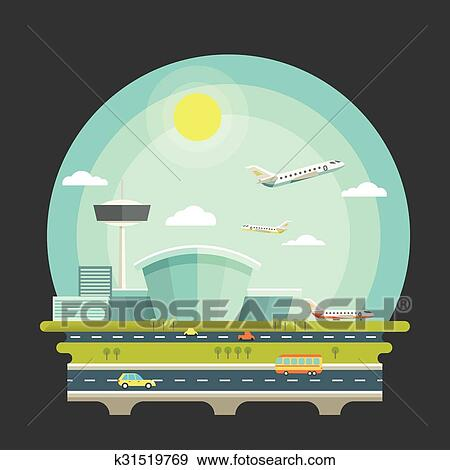 Airport With Planes Or Aircrafts In Flat Design Style Transport Air Travel Concept Background Terminal And Airplane Vector Illustration