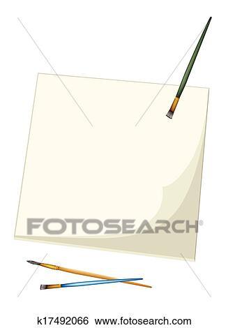 Artist Brushes Lying on A Blank Sketchbook Clip Art