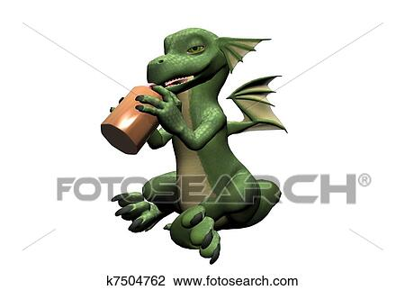 Baby Dragon with Bottle Drawing