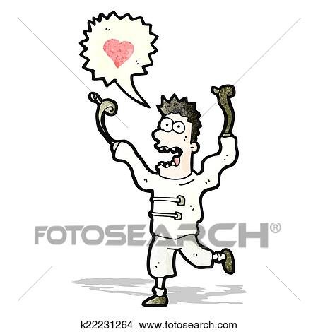 Cartoon Crazy Man In Straight Jacket Clipart K22231264 Fotosearch