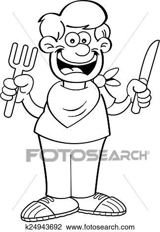 Clipart Of Cartoon Hungry Boy K24943692