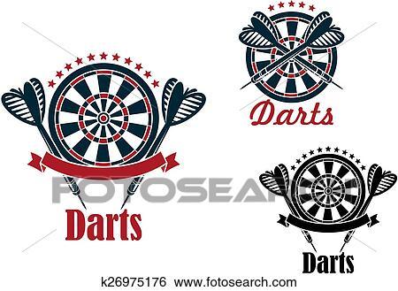 Clip Art Of Darts Sport Game Emblems And Symbols K26975176 Search