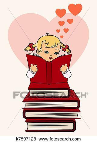 Dessin Anime Petite Fille A Livre Banque D Illustrations