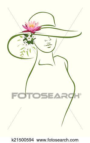 acquisto economico arriva nuovo nuovi prodotti caldi Donna, con, cappello Clipart | k21500594 | Fotosearch