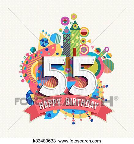 Clipart Gelukkige Verjaardag 55 Jaar Begroetende Kaart Poster