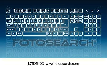 Glowing touch screen keyboard Clipart | k7505103 | Fotosearch