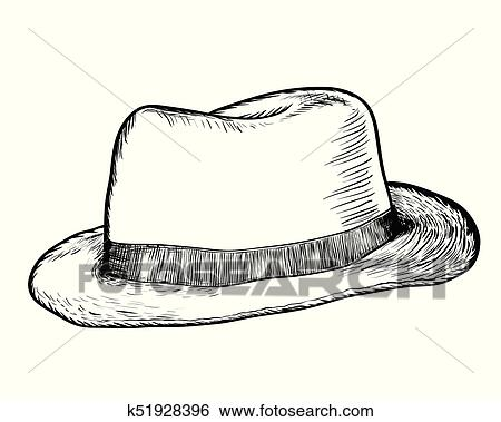 0153e7dc9184e Clip Art - Hand drawing of Cowboy Hat -Vector Drawn Illustration. Fotosearch