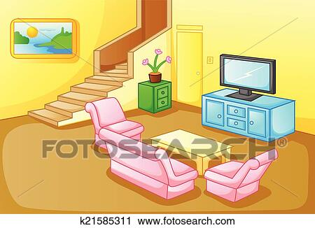 Interior of a house living room Clipart | k21585311 ...
