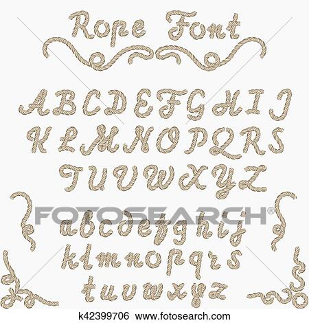 Rope font, nautical hand written Letters Clip Art