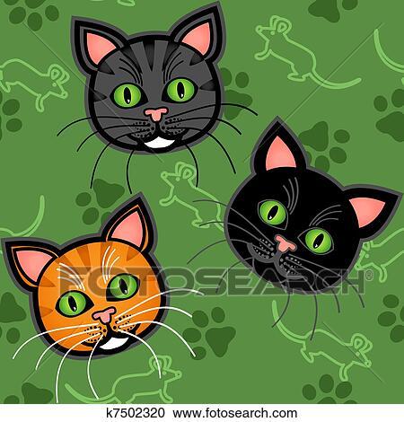 Seamless cartone animato gatto modello clipart k7502320