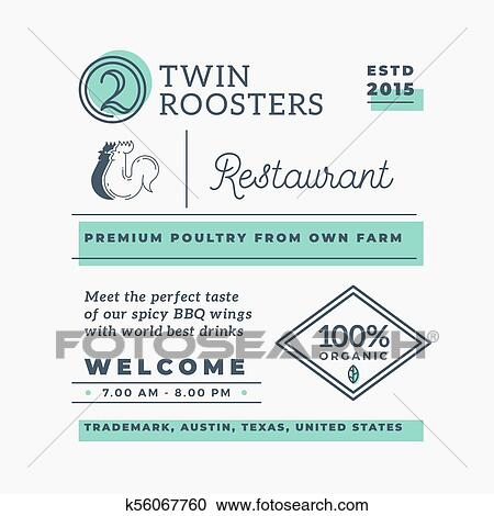 Twin Roosters Barbecue Restaurant Abstract Vector Branding Elements Decorative Logos Symbols And Retro Typography Color Layout Good For Cafe Menu