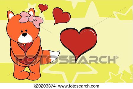 Volpe ragazza cartone animato amore carta da parati clipart