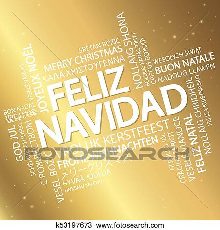 Word cloud Merry Christmas (in Spanish