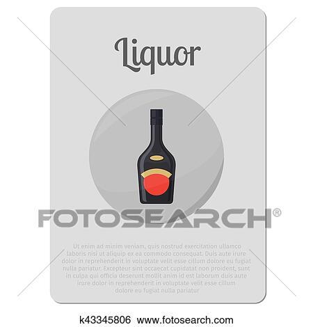 酒 アルコール びん ステッカー クリップアート K43345806 Fotosearch