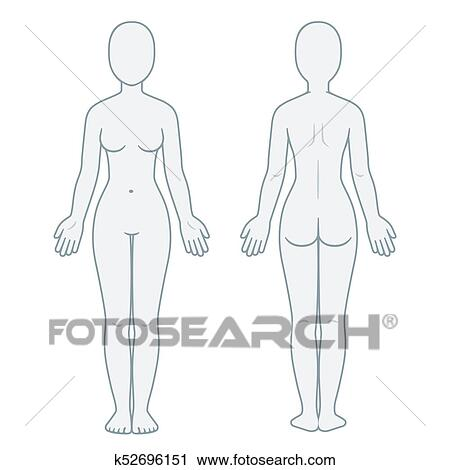 Female Body Front And Back View Blank Woman Template For Medical Infographic Isolated Vector Illustration