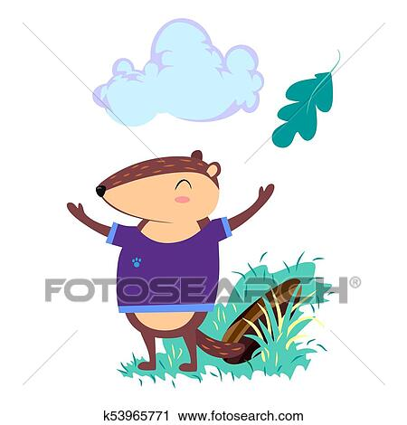 Clipart Of Happy Groundhog Day Design With Cute Marmot Stand On